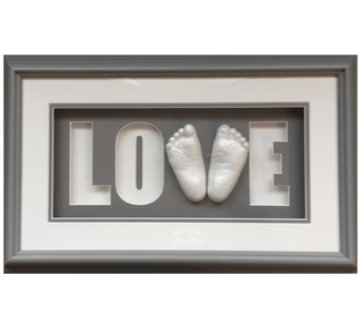 Love Shadow Box with two feet casts